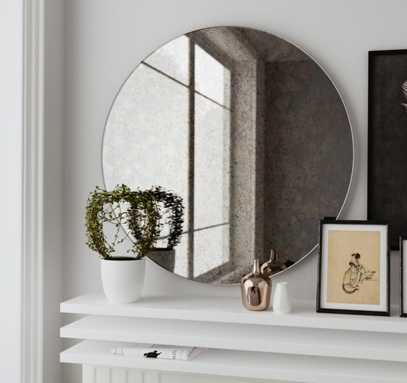 Antique Round Mirror Hanging Wall Mirror Made With Custom