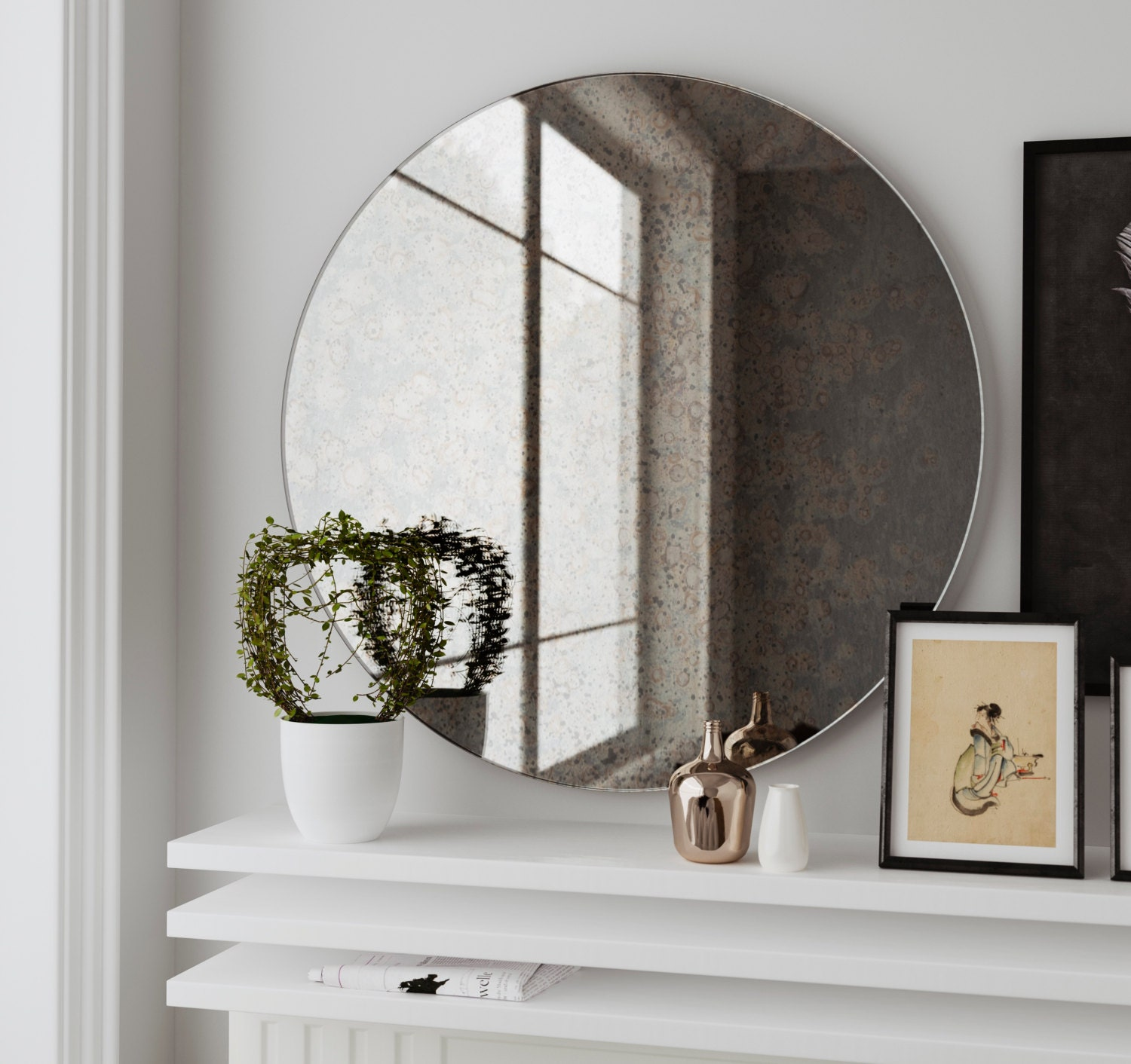 Antique round mirror hanging wall mirror made with custom for Hanging mirror