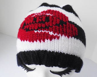 Black and white striped rose hat, red rose beanie