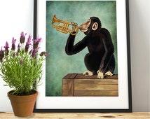 Monkey Print -  Monkey Playing Trumpet - Monkey art modern nursery jungle animal print jungle art safari artwork jungle theme decor
