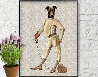 Italian Greyhound Art Print - Fencer Full - Italian Greyhound canvas print Italian Greyhound gifts greyhound picture funny dog picture stuff