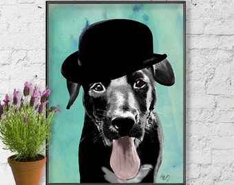 Labrador In Bowler Hat  Black Labrador print, black Lab print, Retriever print, labrador Retriever art print Wall Decor dog illustration