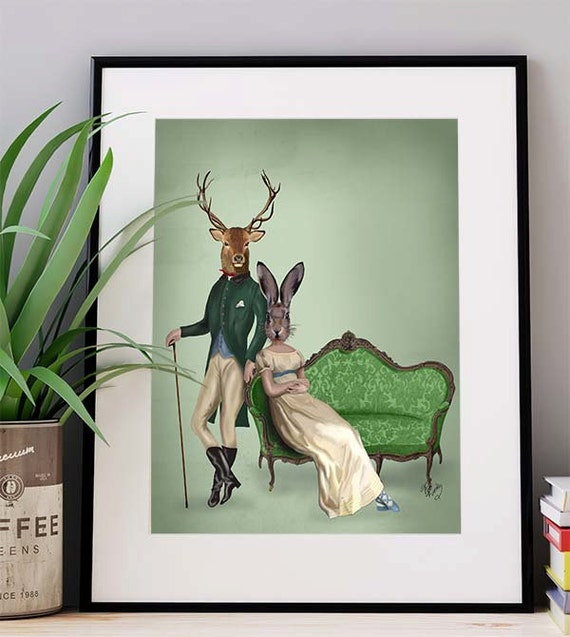 Wall Art Of Deer : Deer and mrs rabbit print wall art poster decor