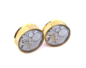 28mm Gold Steampunk Plugs. 1 1/8 Gauge. Pair. Featuring Original Mechanical Watch Parts.