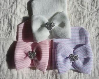 Hospital Newborn Beanie with matching  Bow and added Sparkle!  Newborn Hat, Baby Girl Hospital Hat, Heart Rhinestone