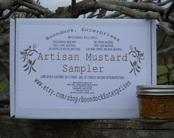 Artisan Mustard Sampler Box - Six 4 oz jars of Flavored Mustard - Coarse Ground Mustard - Gourmet Mustard - Mustard Assortment Gift Box