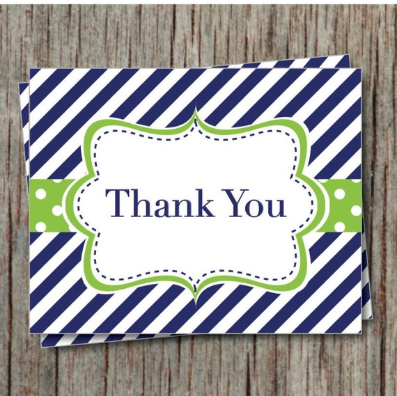 baby shower thank you cards navy blue lime green birthday thank yous