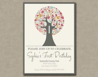 Rainbow Hearts Tree Birthday Invitation / First Birthday / 2nd / 3rd / Any Age / Pink / Elegant / Birthday Party Celebration