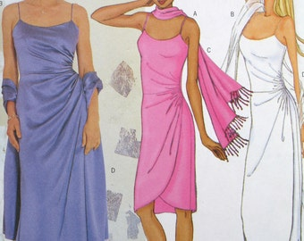 Wedding Dress Sewing Pattern, Bridesmaid, Prom Dress 12,14,16 with scarf, Butterick 6873 UnCut