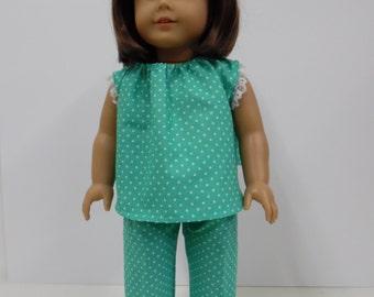 American Girl Aqua Summer Pajamas