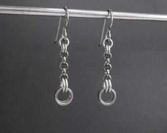 Metal Chain Earrings, Urban Earrings, Hypoallergenic Chain Earrings, Metal Dangle Earrings, Gunmetal Chain Earrings, Edgy Jewelry