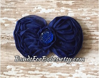 SALE Royal Blue Shabby Chic Bow, Girls Blue Hair Bow, Toddler Barrette, Flower Girl Accessory, Bridesmaid Hair Clip, Alligator Clip, HairBow