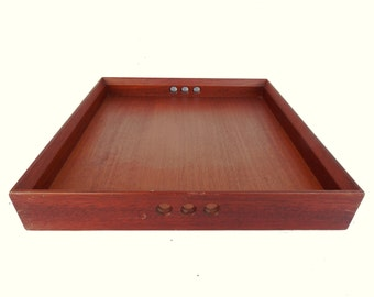 "Vintage Large Heavy Solid Wood Serving Tray Three Holes Handle Mid Century Modern 20"" x 20"""