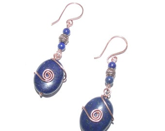 Copper Wire Earrings Lapis Bead Wire Wrapped Jewelry, Copper Earring, Dangle Earrings, Wire Earrings, Copper Jewelry, Long Earring, Wire Art