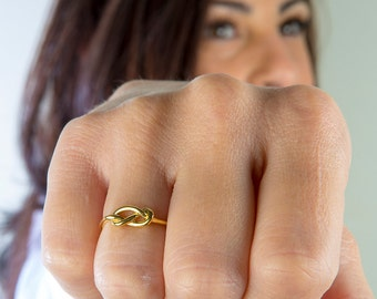 Silver knot ring  Love knot ring  Gold promise ring  Friendship ring Wedding jewelry  Rose knot ring  Silver promise ring Bridesmaid ring