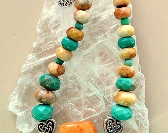 Crazy Lace Agate and Chrysoprase Gemstone Heart Bracelet