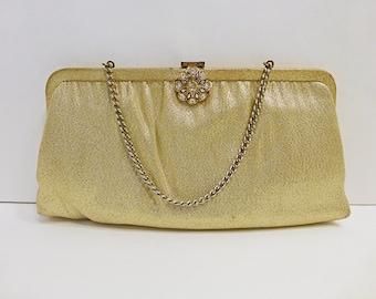 60s Clutch Purse / Ande Purse / 60s Ande Purse / Gold Lame Purse / Lame Clutch / Ande Clutch / Wristlet /Ande Gold Lame Clutch / Evening Bag
