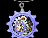 Purple bicycle gear pendant, bike necklace, bike jewelry, hand-painted