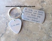 Hand stamped Personalized Step Father/Dad Keychain/Stepfather gift/Stepmother gift/I'd Pick You/Step Parent Gift/Pick keychain