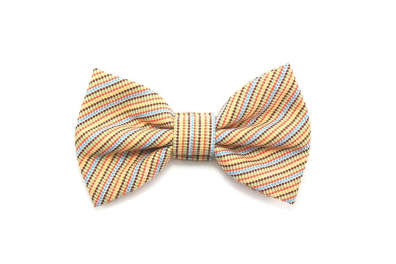 mini dot striped bow tie yellow cat bow tie wedding
