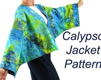 Calypso Jacket Pattern with batwing sleeves,  Quilt Jacket Pattern, BSS140