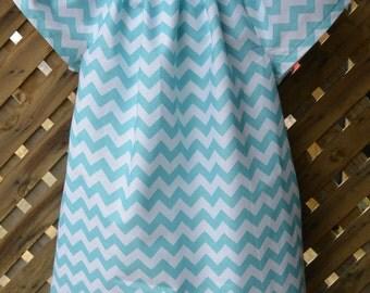 Teal Chevron Toddler Dress