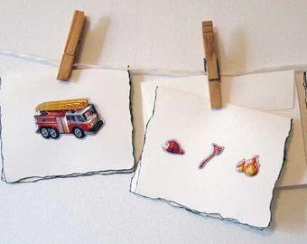Fireman cards, blank greeting cards, blank note cards, firemen cards, firemen, fireman gift, cards set of 5