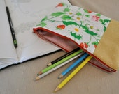 Strawberry and Spring Flower Striped Zipper Pouch