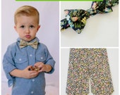 Green Liberty Print Kids Tie, Children's bow tie, green floral bow tie, Liberty of London, green children's tie, toddler bow tie, infant tie