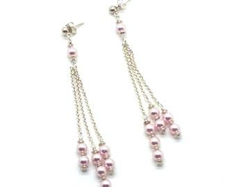Femininity, Sterling Silver, Swarovski Pearls, Pink, Chain, Romantic, Earrings, Gift Idea
