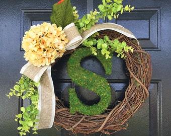 moss monogram wreath.summer wreath,personalized wreath,summer door wreath. Wedding gift.monogram wreath.