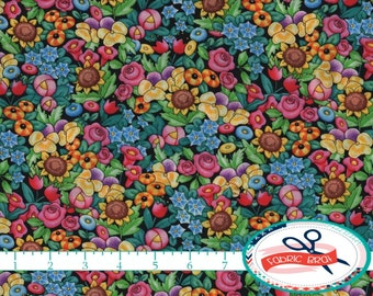 BRIGHT FLORAL Fabric by the Yard, Fat Quarter MARY Engelbreit Fabric Packed Flowers Quilting Fabric 100% Cotton Fabric Apparel Fabric t2-30