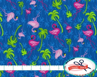 PINK FLAMINGO Fabric by the Yard, Fat Quarter Tropical Palm Tree Fabric 100% Cotton Fabric Quilting Fabric Apparel Fabric Yardage t3-22
