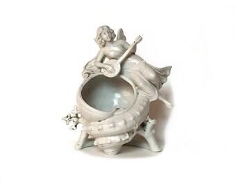 Vintage Trinket Dish, White Porcelain, Fairy, Lute, Seashell, Home & Living