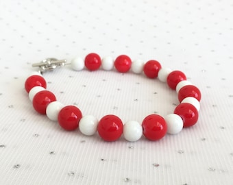 Red Bridesmaid Wedding Jewelry, Red and White Beaded Bracelet, Red Glass Beaded Jewelry, Red Bridesmaid Gift, Red Wedding Bracelet