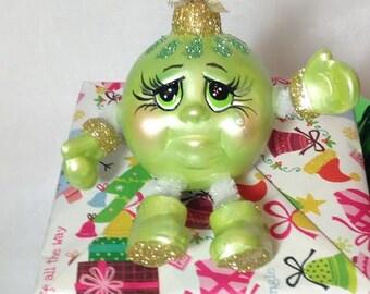 HANDMADE CHRISTMAS ORNAMENT Character/ Ceramic/IridescentGreen /Gold Glitter Whimsical Keepsake/Secret Santa Gift/Hostess Gift