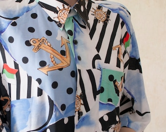 Abstract Nautic 90s Vintage Long Blouse Oversize