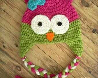 Owl Hat--- Dark Pink with Lime Green Earflaps & Braids