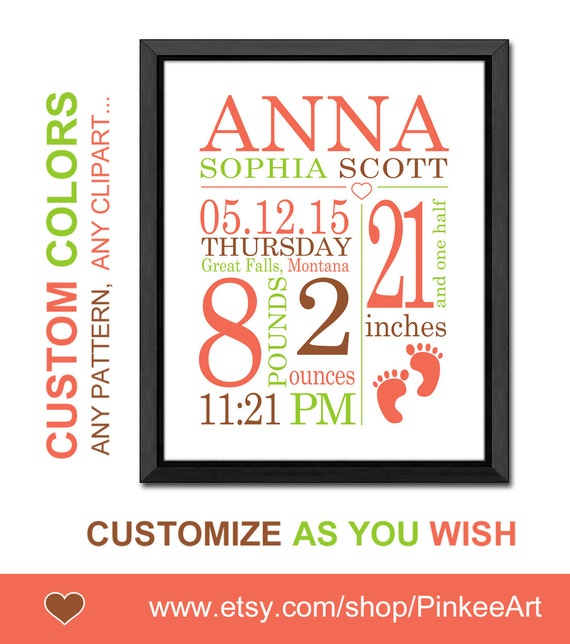 Baby Announcement Wall Art Personalized Birth Stats Birth Annoucements Bi
