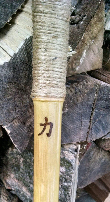 Bamboo walking stick hiking curvy