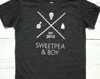 Sweetpea & Boy Toddler shirt. American apparel kids shirt.