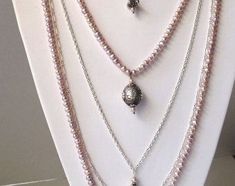 Regal 5-Strand Necklace Rosy Freshwater Pearls Crystal Sterling Silver