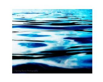 Ocean Photography, 11x14 Art Print, Water Ripples, Ocean Art Print, Water Surface, Peaceful Water Art, Wave Photography, Cobalt Blue Art