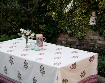 Block printed TABLECLOTH - Smokey pink flowers with zigzag border.