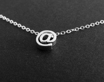 Typography necklace, at symbol, internet jewelry, trendy jewelry
