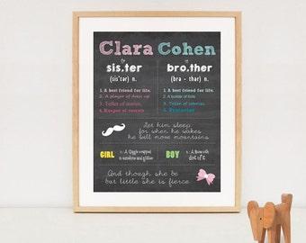 Custom Sibling chalkboard printable - Twin digital poster - DIGITAL FILE!