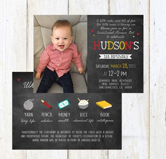 Korean Doljabi First Birthday INVITATION Baby Girl Or Boy