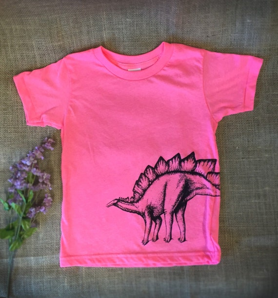 Neon Pink Stegosaurus Dinosaur T Shirt. Girls Dinosaur Shirt.