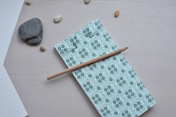Japanese handbound notebook printed with a blue pattern, Panoramic size, choose your paper, for drawing or writing