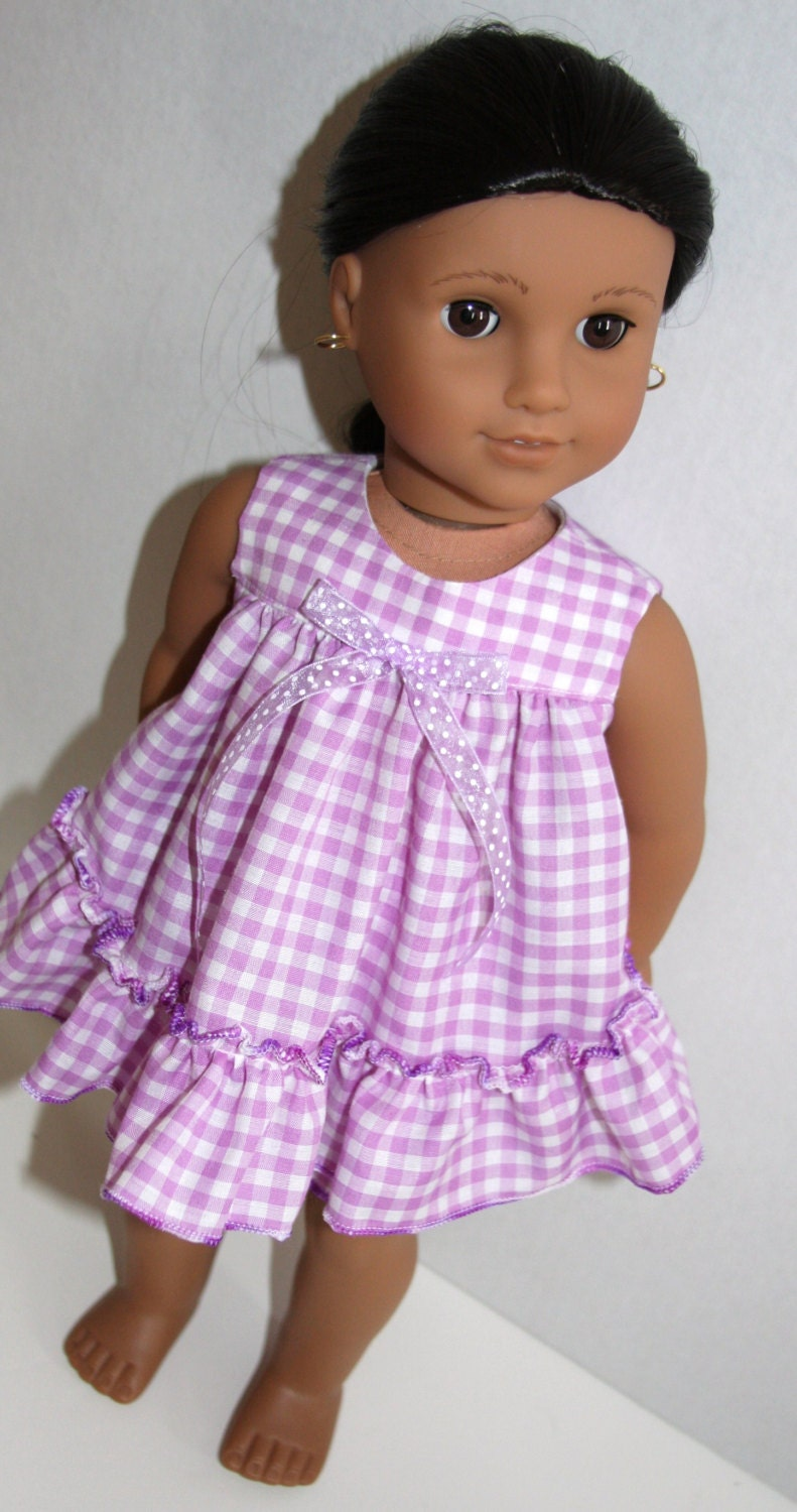 18 Inch Doll Like American Girl Purple Gingham Baby Doll